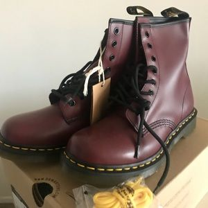 Dr Martens red laced booties